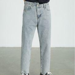 Kman - Fray Hem Straight-Fit Jeans