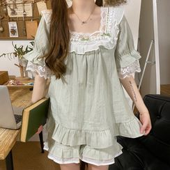 Sadelle - Pajama Set: Lace Trim Short-Sleeve Top + Shorts + Hair Band