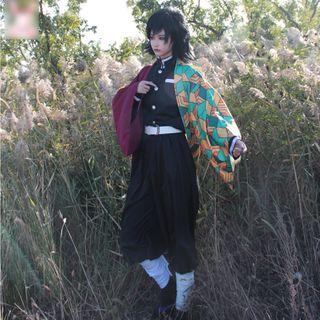 Mikasa - Demon Slayer: Kimetsu no Yaiba Giyu Tomioka Cosplay Costume / Wig / Set