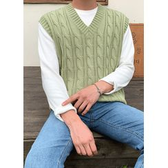 JOGUNSHOP - V-Neck Cable-Knit Vest