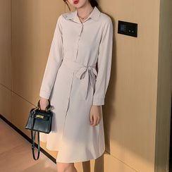 YUMU - Long-Sleeve Sashed Shirt Dress