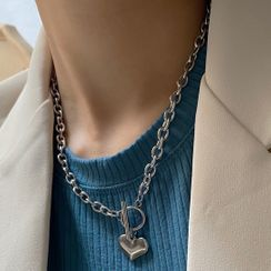 Betsuno - Heart Hoop And Bar Necklace