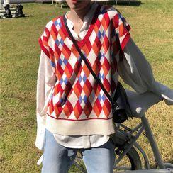 The Cat's Den - Argyle Knit Vest
