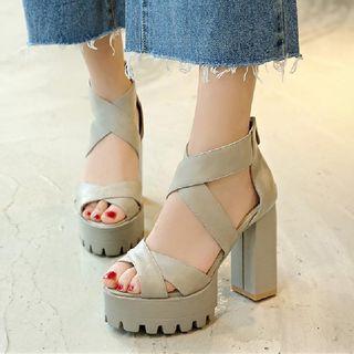 Freesia - Cross Strap Chunky-Heel Platform Sandals