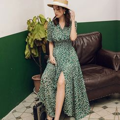 Leonnah - Short-Sleeve Floral Midi Sundress