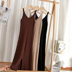 Corail - V Neck Striped Knit Skinny Sleeveless Dress