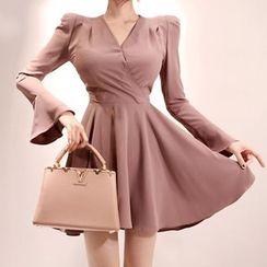 Hasu - V-Neck Long-Sleeve A-Line Dress
