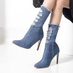 Deree - Denim High Heel Short Boots