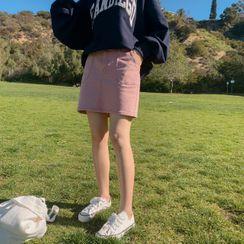 CHERRYKOKO - Zip-Front Washed Miniskirt