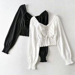 Yalitza - Puff-Sleeve Lace-Up Blouse