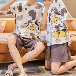 Lion Sniff - Couple Matching Loungewear Set : Short-Sleeve Animal Print Top + Shorts