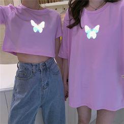 Happy Bird - Butterfly Print Short-Sleeve T-Shirt