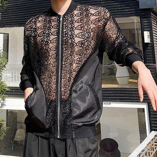 Citigleam - Lace Panel Zip-Up Jacket
