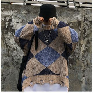Shineon Studio - Long Sleeve Argyle Ripped Knit Top
