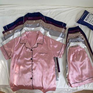 Bloombloom - Pajama Set: Short-Sleeve Silky Shirt + Shorts