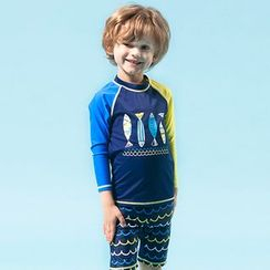 Aqua Wave - Kids Set: Fish Print Rashguard + Swim Shorts