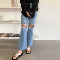 PPGIRL - Fray-Hem Boot-Cut Jeans
