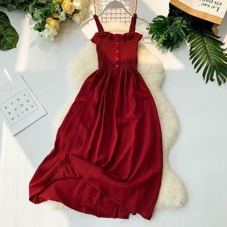 Lucuna - Plain Strappy Midi A-Line Dress