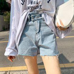 DEEPNY - Asymmetric-Waist Denim Shorts
