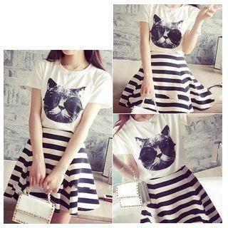 Rocho - 套装: 猫咪印花T恤 + 条纹A字裙