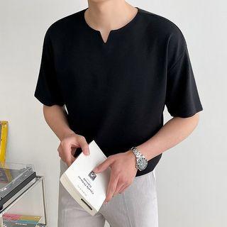 Seoul Homme - Cutout-Neck Plain T-Shirt