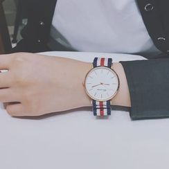 InShop Watches - Retro Striped Nylon Strap Watch