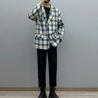 Avilion - Plaid Blazer / Long-Sleeve T-Shirt / Straight-Leg Pants