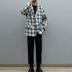 Avilion(アヴィリオン) - Plaid Blazer / Long-Sleeve T-Shirt / Straight-Leg Pants