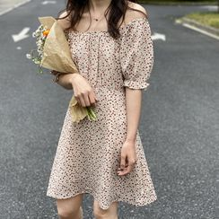 Coolvibe - Short-Sleeve Floral Print A-Line Dress
