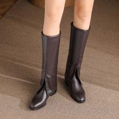 Kireina - Faux Leather Block-Heel Tall Boots