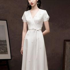 Remme - Short-Sleeve Beaded A-Line Evening Gown