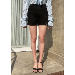 chuu - Zip-Side Slit-Hem Shorts