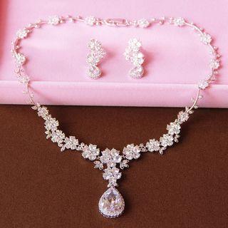 Neostar - Set: Rhinestone Necklace + Earring