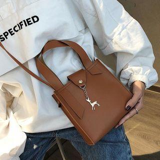 BAGuette - Deer Charm Faux Leather Handbag With Shoulder Strap