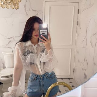 LIPHOP - Frilled-Trim Bell-Cuff See-Through Blouse