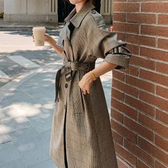 Hassel - Plaid Double-Breasted Belted Trench Coat