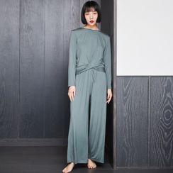 Cinni - Pajama Set: Long-Sleeve Knotted T-Shirt + Pants
