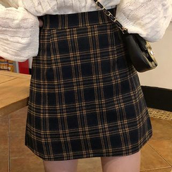 Opis - Plaid Mini A-Line Skirt
