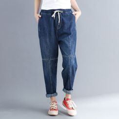 RAIN DEER - Washed Paneled Harem Jeans