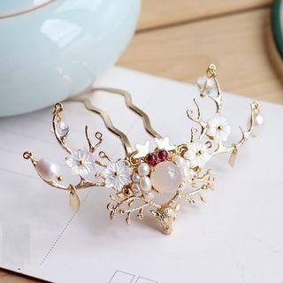 Kanzashi - Retro Freshwater Pearl Floral Deer Horn Hair Pin
