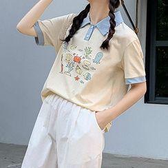 Fairyland - Ocean Theme Polo-Collar Short-Sleeve Top