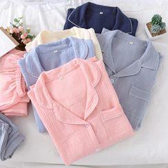 MelMount - Couple Matching Pajama Set: Plain Shirt + Pants