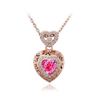 BELEC - 时尚心形吊坠配玫红色奥地利水晶及项链