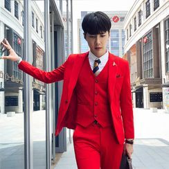 Blueforce - 套装: 纯色钮扣西装外套 + 马甲 + 西裤