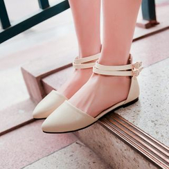Shoes Galore - Ankle Strap Pointy Flats