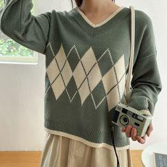 Seoul Fashion - V-Neck Argyle Sweater