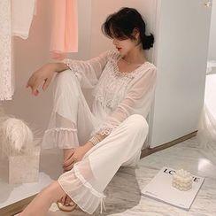 Ciambella - Lace Panel Pajama Set
