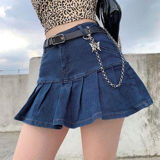 Cincine - Pleated Denim Skirt