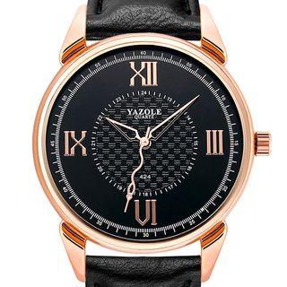 YAZOLE - 罗马数字仿皮表带手表