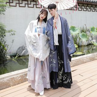 Tangier - Couple Matching Long-Sleeve Embroidered Traditional Chinese Costume / Embroidered Hanfu Long Light Jacket